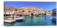 Halki Harbour Front, Canvas Print