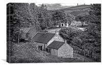 Cottages in the Trees - B&W, Canvas Print