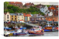 Busy Whitby Harbour, Canvas Print