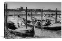 Gondolas across from Le Zitelle - B&W, Canvas Print