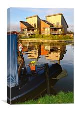 Canal side reflections, Canvas Print