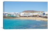 Playa Blanca, Beach and shops, Canvas Print
