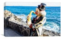 Playa Blanca Clown Playing Sax , Canvas Print