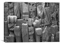 Carved wood statues, Canvas Print