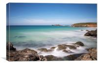 St Ives bay and Godrevy, Canvas Print