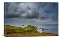 Overcast skies at Cape Cornwall , Canvas Print