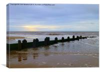 Incoming tide at Rossal Beach,, Canvas Print