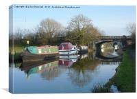 Boats on the Lancaster Canal , Canvas Print
