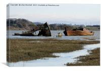 Decommissioned Trawlers on Fleetwood Marsh., Canvas Print