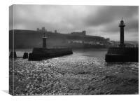 Entrance to Whitby Harbour. , Canvas Print