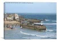 New lighthouse on Smeatons Pier St Ives. , Canvas Print