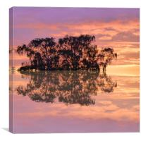 Sunset reflections in the square, Canvas Print