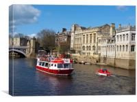 York City Guildhall with river boat on the Ouse., Canvas Print
