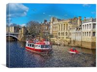 York Guildhall with river boat on the river Ouse. , Canvas Print