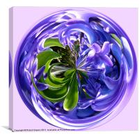 Spherical Paperweight of Bluebells., Canvas Print