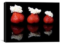 Strawberries and whipped cream, Canvas Print