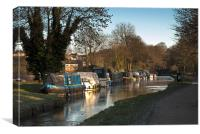Narrowboats On A Canal, Canvas Print