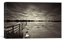 Lake Long Exposure Dark Mono, Canvas Print