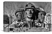 Miners In The Snow 2 Mono, Canvas Print