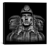 Miners In The Dark, Canvas Print