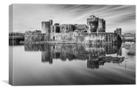 Caerphilly Castle Long Exposure 1 Mono, Canvas Print