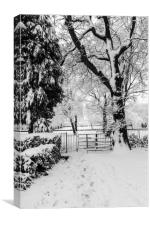 Kissing Gate In The Snow, Canvas Print