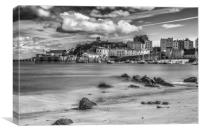 Tenby Harbour Long Exposure Mono 2, Canvas Print