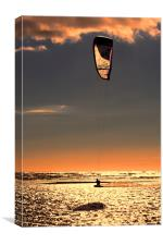 Kitesurfing at Sunset, Canvas Print