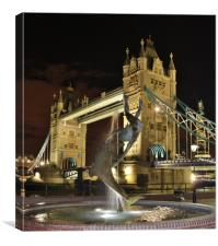 Tower Bridge and Girl with a Dolphin Fountain., Canvas Print