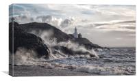 Mumbles Lighthouse Storms., Canvas Print