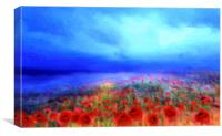 Poppies in the mist, Canvas Print