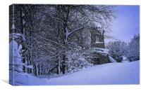 Country Village Church in Winter, Canvas Print