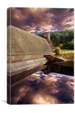 Derwent Dam Deep Reflections, Canvas Print