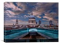 Millenium Bridge to St Pauls, Canvas Print