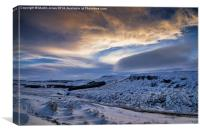 Winter over Higger Tor from Burbage Bridge, Canvas Print