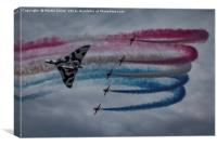 The Red Arrows fly with Avro Vulcan XH558, Canvas Print