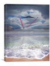 Vulcan XH558 with the RAF Red Arrows, Canvas Print