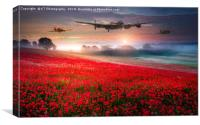 Lancaster,Spitfire and Hurricane - Poppy Flypast, Canvas Print