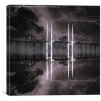 Thunder over the Twin Towers of the Oresund Bridge, Canvas Print