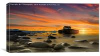 Sunset over St Cwyfan's Church, Anglesey., Canvas Print