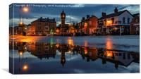 Thirsk Market Place after an Evening Downpour , Canvas Print