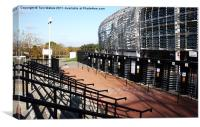 The Ageas Bowl/Rose Bowl turnstiles and steps, Canvas Print