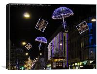 Christmas Lights in Oxford Street, Canvas Print