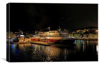 Ancona harbour at night., Canvas Print
