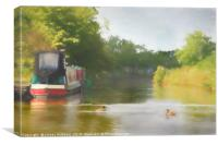Narrowboat on the Grand Union Canal, Canvas Print
