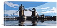 Tower Bridge in cut out style, Canvas Print