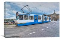 Trams in Amsterdam, Canvas Print