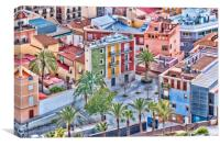 Alicante Coloured Houses, Canvas Print