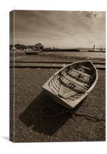 Beached rowing boat, West Mersea, Canvas Print