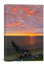 Sunrise at Saltburn portrait, Canvas Print